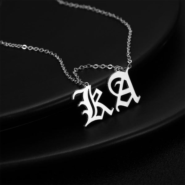 Custom Two Letter Old English Name Necklace Silver