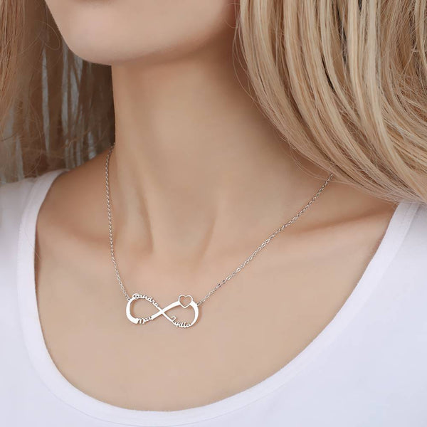 Personalized Infinity 3-6 Names Necklace Copper in Silver