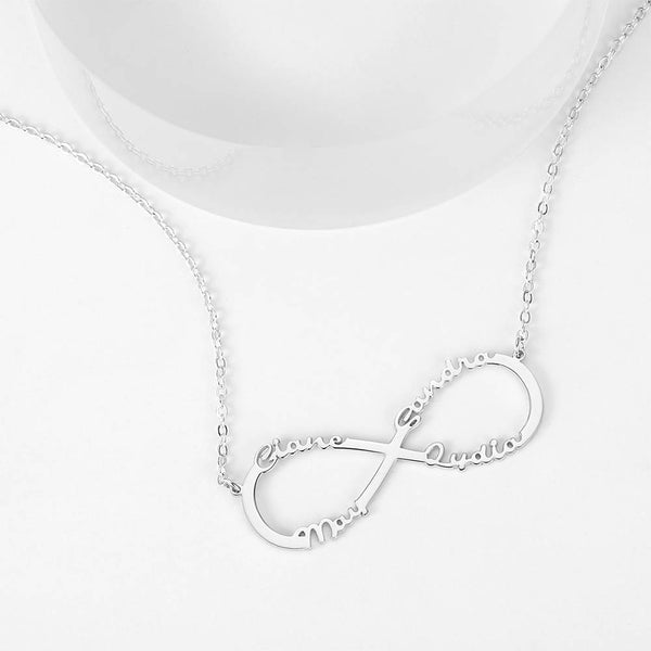 Personalized Infinity Four Name Necklace Copper in Silver
