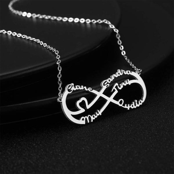 Personalized Infinity Heart Five Name Necklace Copper in Silver