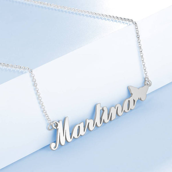Personality Butterfly Name Necklace Copper in Silver For Girlfriend