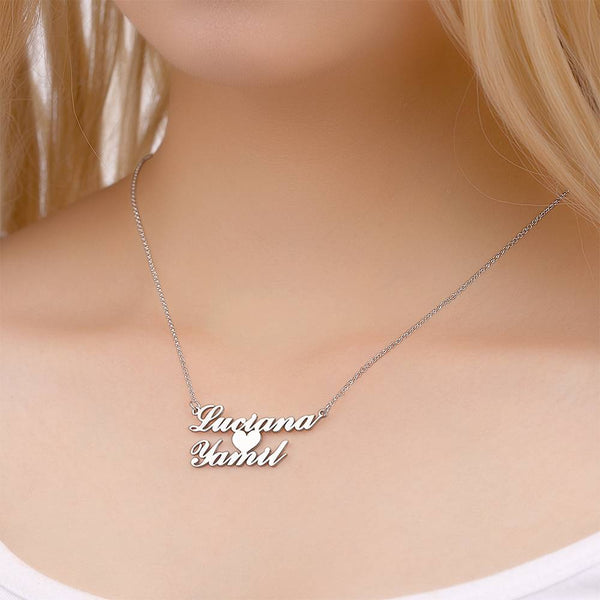 Personalized Two Name Necklace with Heart Copper in Silver