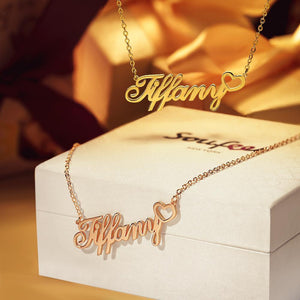 Personalized Copper Name Necklace with Little Heart, Gifts for Her