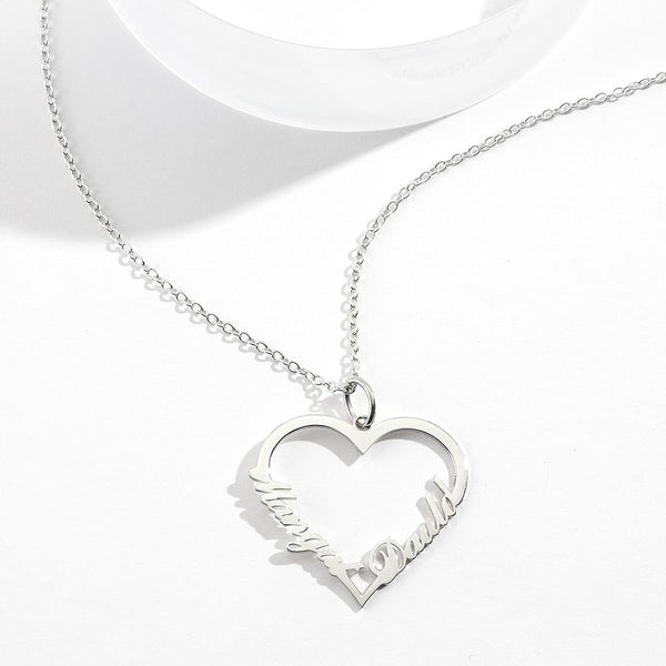 Custom Heart shaped Two Name Necklace Perfect Gift Silver