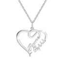 Overlapping Heart Two Name Necklace 14k Gold Plated For Her