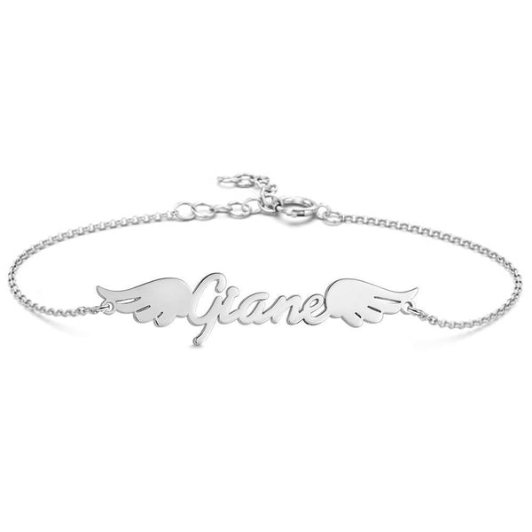 Personalized Angel Wings Name Bracelet Platinum Plated Silver