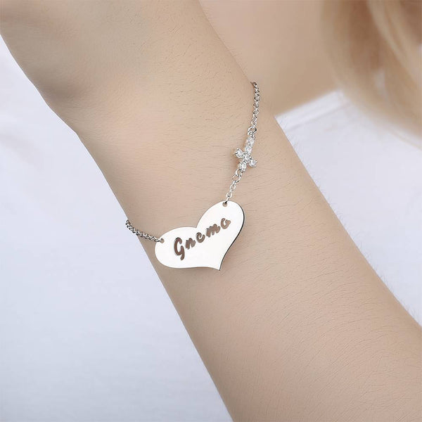Hollow Letter with Cross Engraved Bracelet Silver Plated