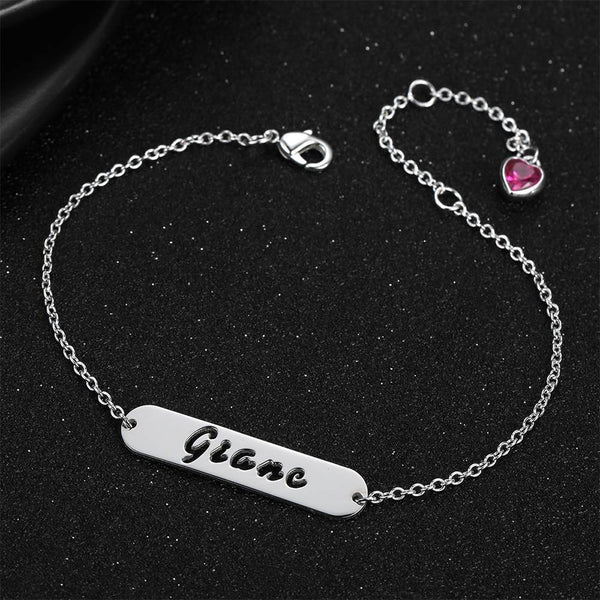 Hollow Carved Bar Name Bracelet with Heart-shaped Birthstone Silver Plated