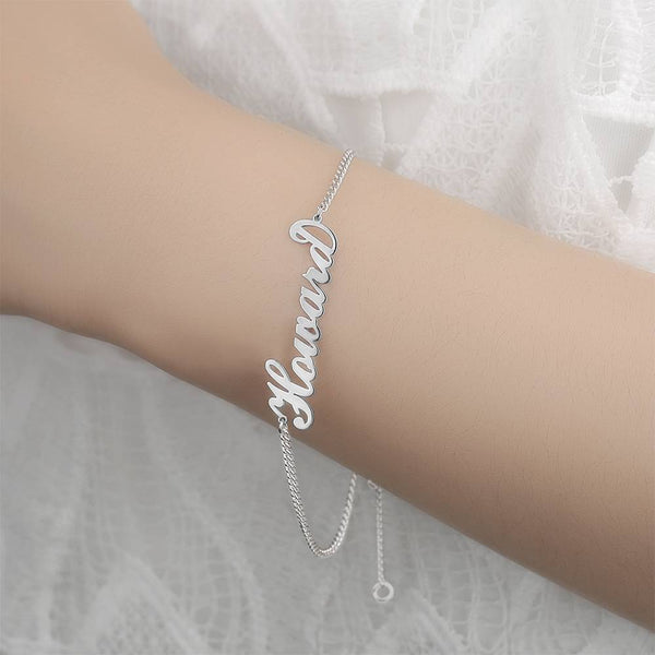 Personalized Name Bracelet Any Name Bracelet Platinum Plated Silver