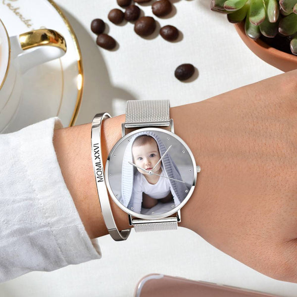Photo Watch - Personalized Unisex Engraved Watch Bracelet For Love