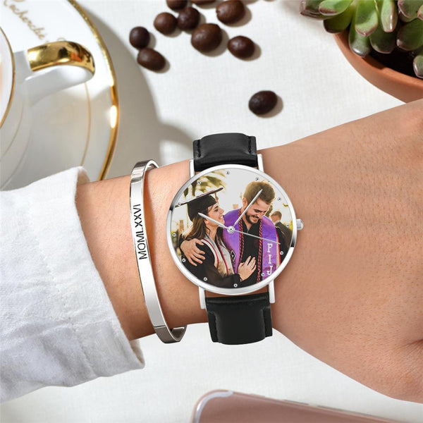 Photo Watch - Personalized Men's Engraved Watch Black Strap
