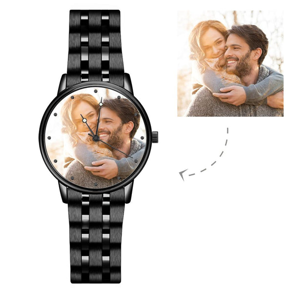 Engraved Men's Black Alloy Bracelet Photo Watch 38mm For Love