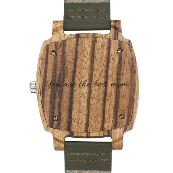 Men's Engraved Bamboo Photo Watch Dark Green Leather Strap 45mm