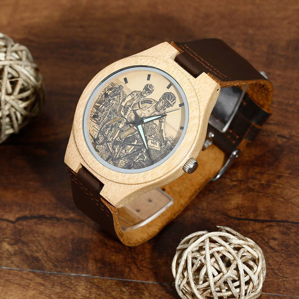 Custom Men's Bamboo Photo Watch Love with Heart Engraving