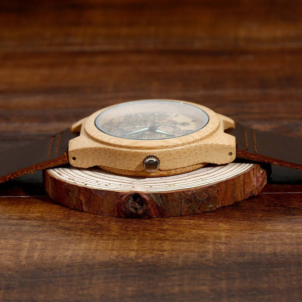 Custom Men's Engraved Bamboo Watch with Devil Brown Leather