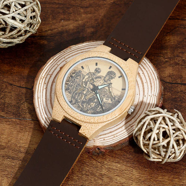 Custom Men's Engraved Bamboo Watch with I Love You Brown Leather For Him