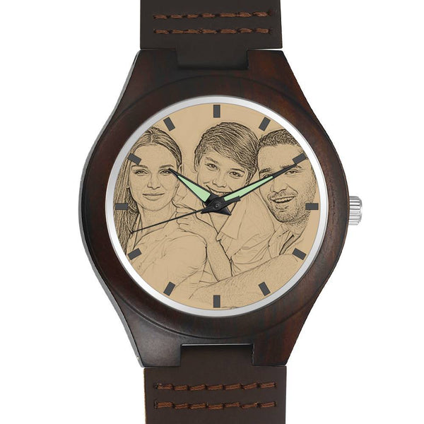 Custom Men's Engraved Wooden Watch with I Love You Brown Leather