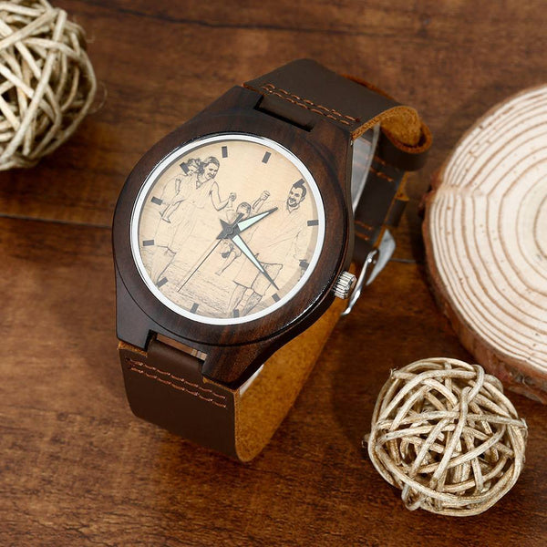 Custom Men's Engraved Wooden Watch Brown Leather
