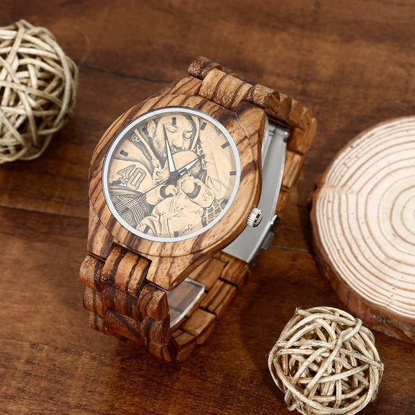 Men's Engraved Wooden Photo Watch Wooden Strap 45mm For Dad