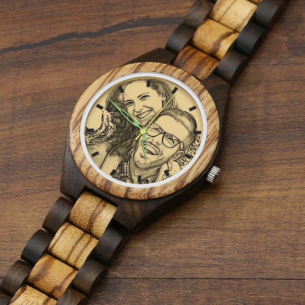 Graduation Gifts Men's Engraved Wooden Photo Watch Wooden Strap 45mm