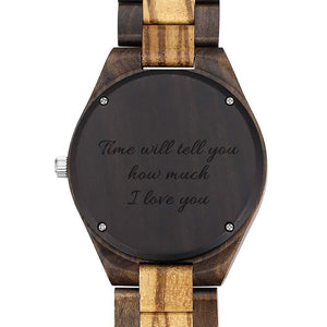 Men's Engraved Wooden Photo Watch Wooden Strap 45mm For Him