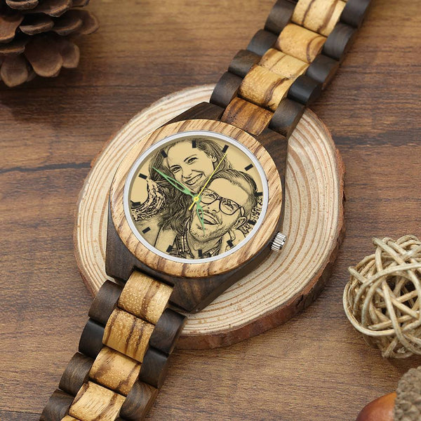 Men's Engraved Wooden Photo Watch Wooden Strap 45mm