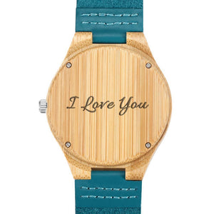 Men's Engraved Wooden Photo Watch Blue Leather Strap