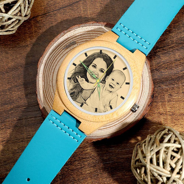 Couple Watch - Women's Engraved Wooden Photo Watch Blue Leather Strap