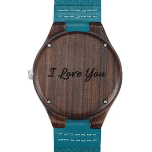 Men's Engraved Sandalwood Photo Watch Blue Leather Strap