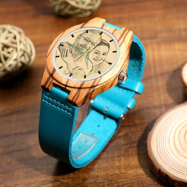 Wooden Watch - Men's Engraved Wooden Stripe Photo Watch Blue Leather Strap For Him