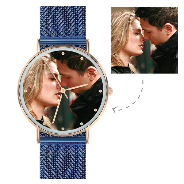 Photo Watch - Personalized Engraved Watch Blue Strap For Couple For Love