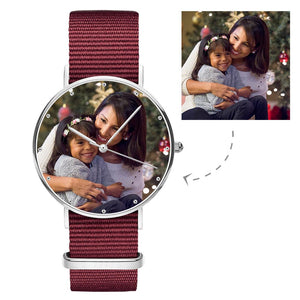 Photo Watch - Personalized Engraved Watch Red Strap For Love