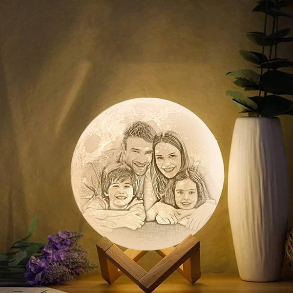 Touch Two Colors - 3D Printing Moon Light Photo Engraved Memorial Gift(10-20cm)