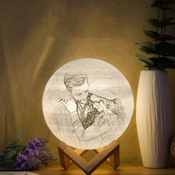 Touch Two Colors - Magic 3D Printing Jupiter Photo Engraved Lamp (10-20cm)