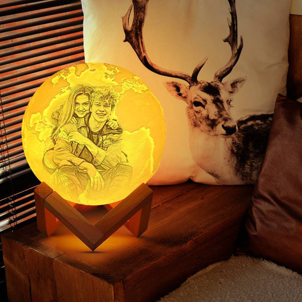 Touch Two Colors - Magic 3D Printing Earth Photo Engraved Lamp (10-20cm)
