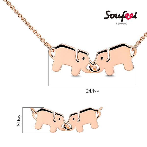 Two Elephants Necklace Rose Gold Plated Silver