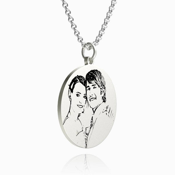 Women's Round Photo Engraved Tag Necklace With Engraving Silver