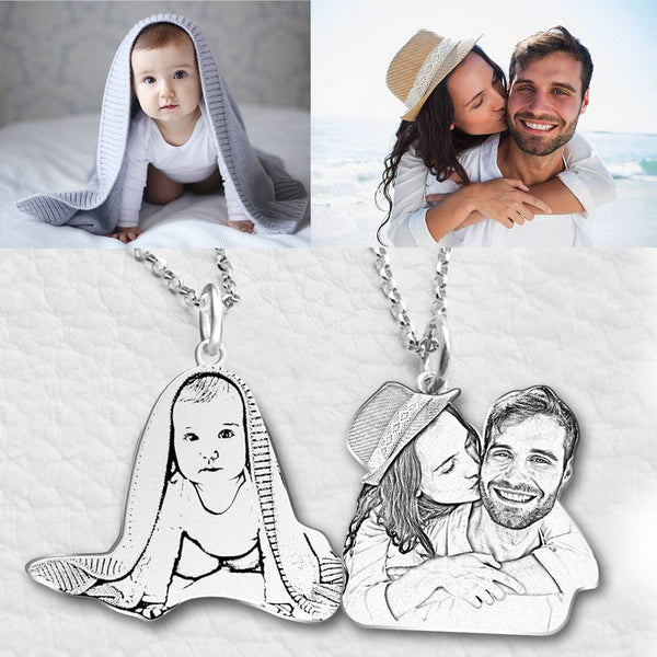 Photo Engraved Necklace Pet Tag Pendant Silver For Her