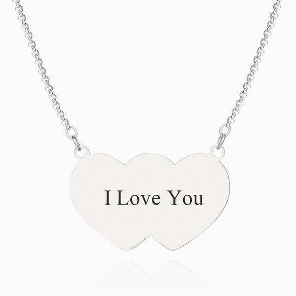 Heart To Hearts Photo Engraved Tag Necklace Silver