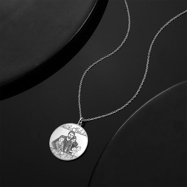 Personalized Round Photo Engraved Necklace Silver