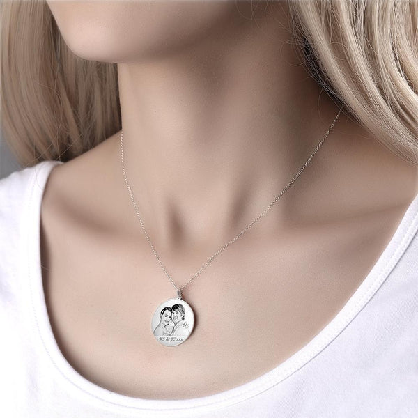 Custom Round Photo Necklace Engraving Neckalce Silver