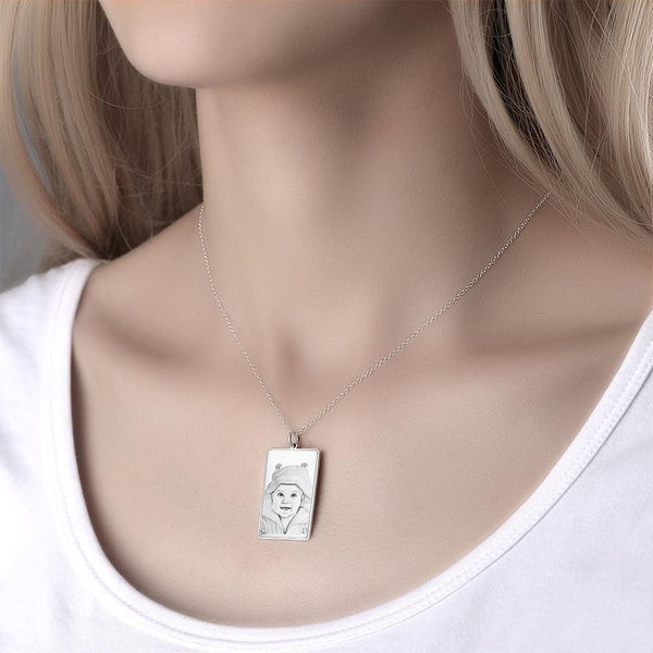 Personalized Rectangle Engraved Photo Necklace Silver