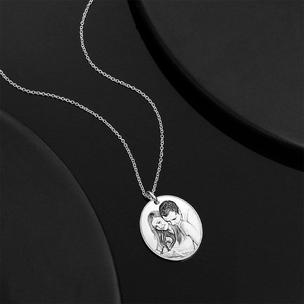 Personalized Oval  Engraved Photo Necklace Silver