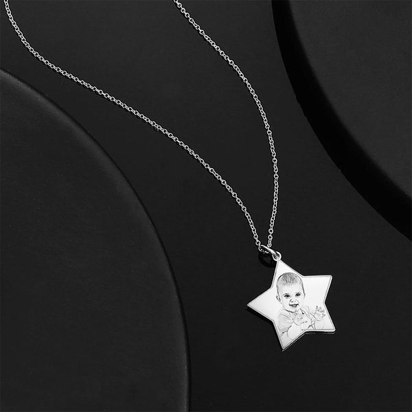Personalized Star Engraved Photo Necklace Silver