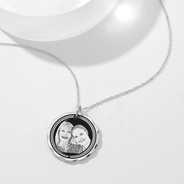Personalized Round  Engraved Photo Necklace Silver Retro