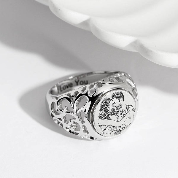Women's Photo Engraved Ring With Engraving Silver