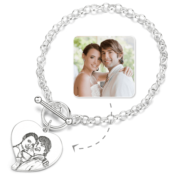 Women's Heart Photo Engraved Tag Bracelet With Engraving Silver For Her