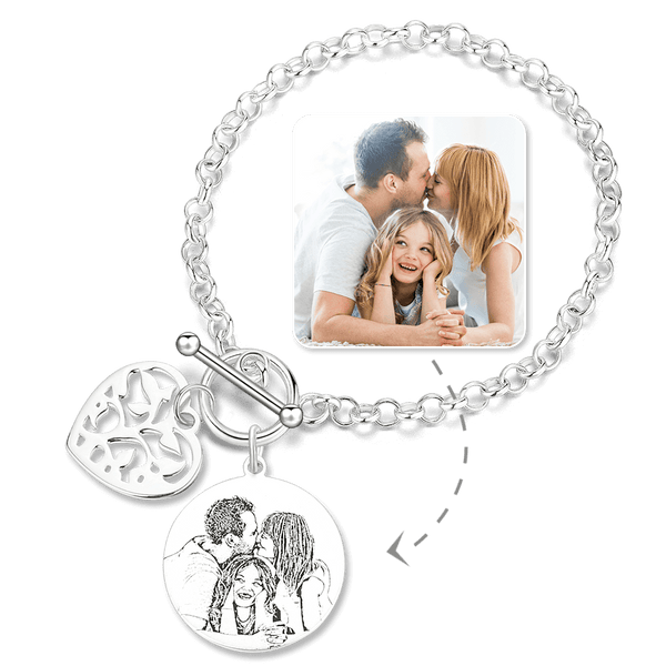 Women's Photo Engraved Tag Bracelet With Engraving Silver For Her