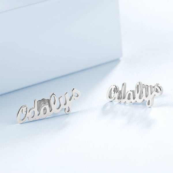Personalized simple style Name Earrings