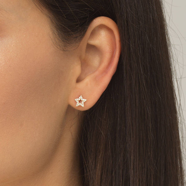 Open Star Threaded Stud Earring 14K